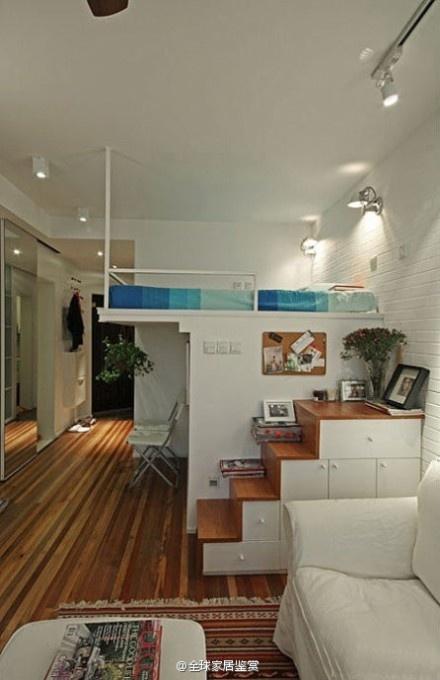 Cool ~ 2 hall, a room of 50 square meters, storage small attic    повторяющаяся тема - кровать-чердак над шкафами.