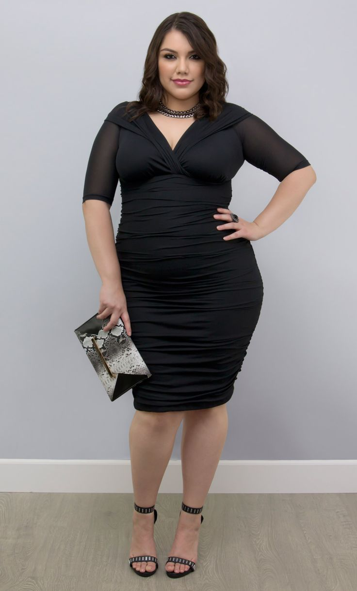 Killer curves and killer savings is what you get with our plus size Betsey Ruched Dress.  A pin-up inspired LBD made out of a breathable mesh to flatter every inch.  Explore more American made fashion at great prices at www.kiyonna.com.  #KiyonnaPlusYou