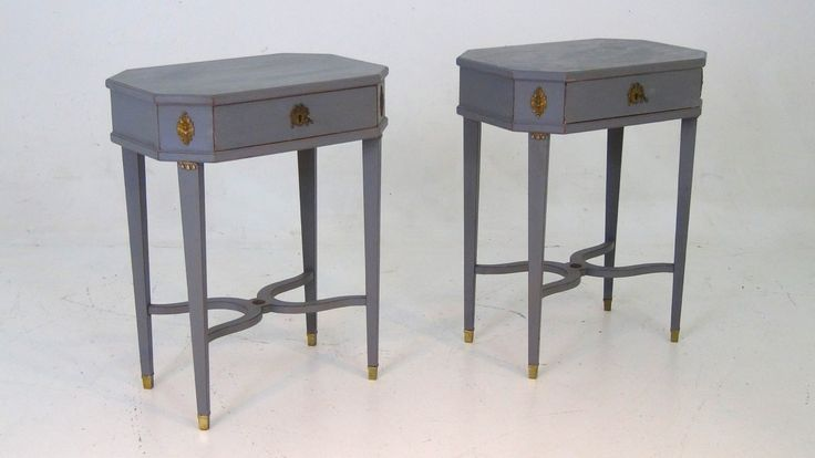 A pair of freestanding Swedish bronze mounted tables. Apx. 70-80 year old. With drawer in the front. http://www.selected-antiques.dk/12320-1a------a-pair-of-freestanding-swedish-bronze-mounted-tables-apx-70-80-year-old-with-drawer-in-the-front