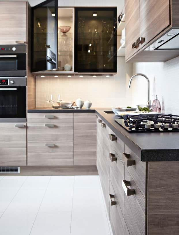 ikea sofielund kitchen brokhult walnut finish is great would love this with shelving as uppers. Black Bedroom Furniture Sets. Home Design Ideas