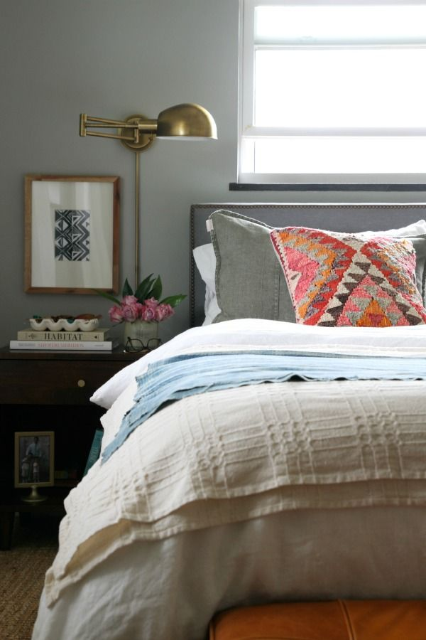 Bedding. Plain white duvet layered with textured blankets and a focal point…