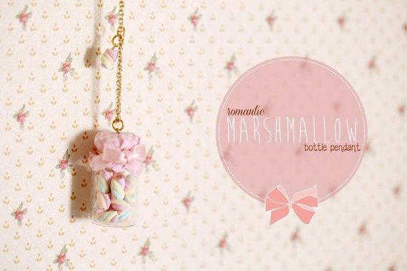 Marshmallow Bottle Pendant / Dollhouse Miniature / Food by Ilianne, £12.00