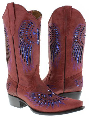 Cowboy Professional  Womens Wings with Cross Red Leather Cowboy Boots with Blue Sequin Size 85 * Check this awesome product by going to the link at the image.(This is an Amazon affiliate link and I receive a commission for the sales)
