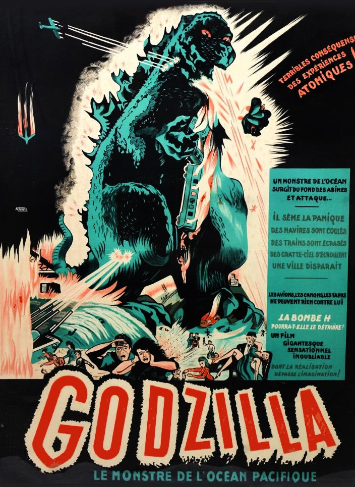 1957 Godzilla Monster Movie Poster For The French Original Release Lelands Auction Movie Posters Vintage Classic Movie Posters French Poster