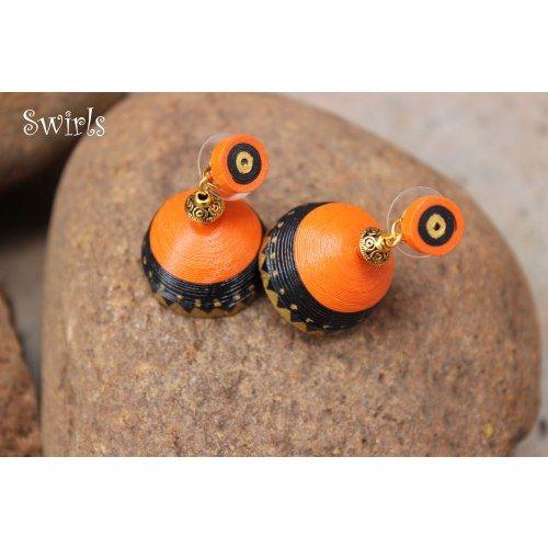 Orange & Black Hand painted Quilled Jhumkas