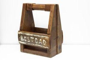 Beer carrier made out of reclaimed pallet wood. Ructic look. Fathers day gift idea. / Skrzynka - nosidło na piwo BEST DAD wykonana z desek paletowych. Postarzana, fajny prezent na Dzień Ojca.