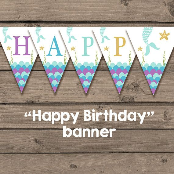 Mermaid Birthday banner Happy Birthday banner mermaid party Flag Bunting Happy birthday Purple Gold Turquoise download Printable Digital DIY