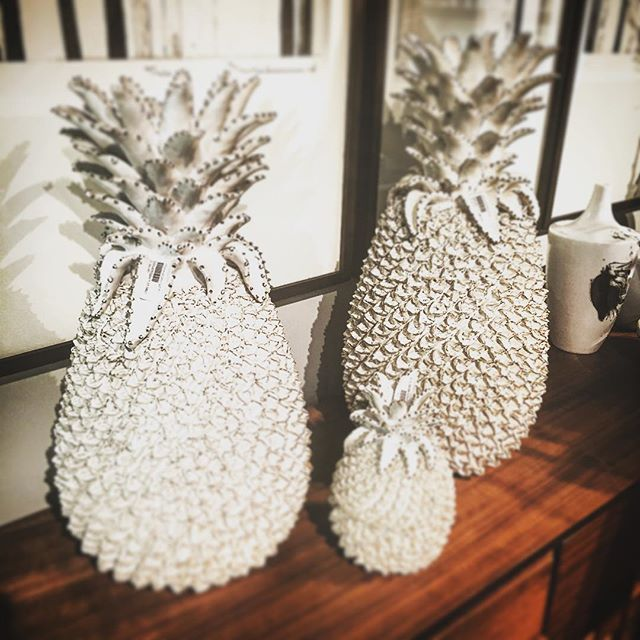 Pineapple ornaments were a string theme at #maisonobjet Here at @roomandmerchant we adore this quirky pair #mo15 #design #ornaments #homeaccessories #homeinteriors #interiordesign