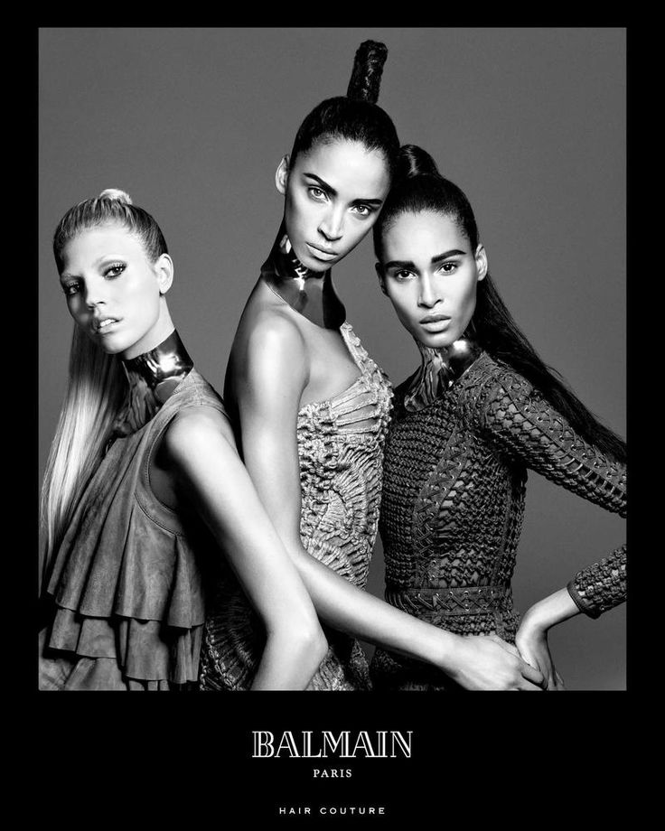 Cindy Bruna,Devon Windsor and Noemie Lenoir pose for Balmain Hair Couture Spring Summer 2016