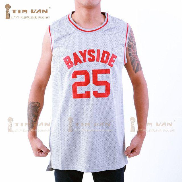 TIM VAN STEENBERGEB The Bell Zack Morris 25 Bayside Tigers Basketball Jersey All Sewn-Gray