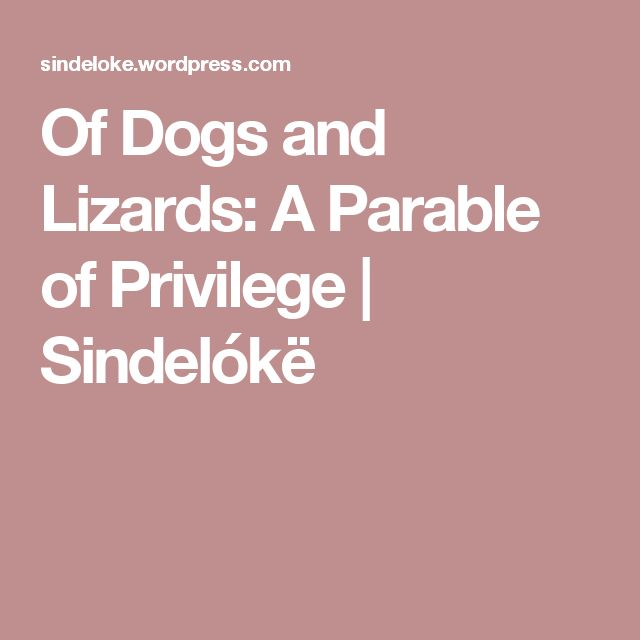 Of Dogs and Lizards: A Parable of Privilege | Sindelókë