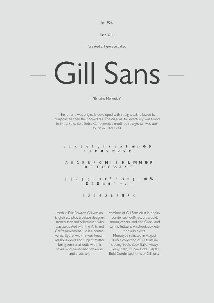 Gill Sans Specimen Poster by Kefeeee