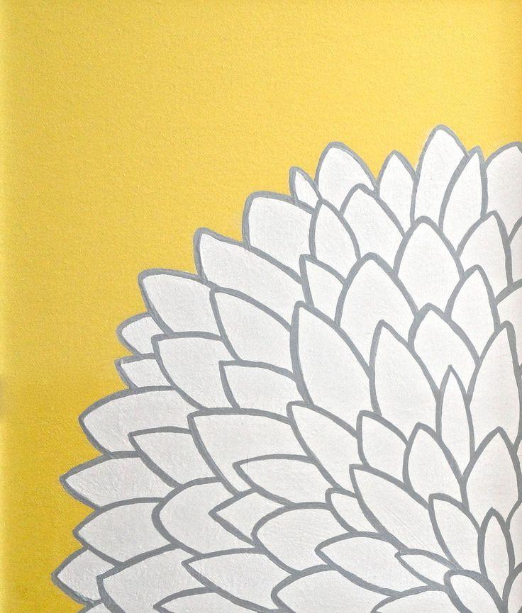 11x14 Yellow White Grey Flower Painting  - Original Art on Canvas - Ready to Ship. $32.00, via Etsy.