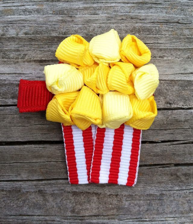 Popcorn and Soda Pop Ribbon Sculpture Hair Clip Set
