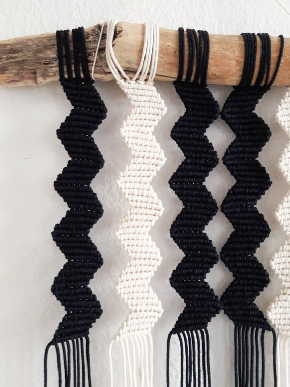 Polka_knot handmade macrame wall hanging - chevron The wall hanging is an accessory to your home and living area. It is made from different kinds of 100 % natural cotton rope, which gives a special visual effect in a sense of texture and different tones of beige/natural color. The piece contains a lot of fine details with a hint of tribal art. The driftwood comes from a beautiful river, that runs through valley of Slovenian Alps. Measurements: Wood width: 50 cm Width: 35 cm Length: 52 ...