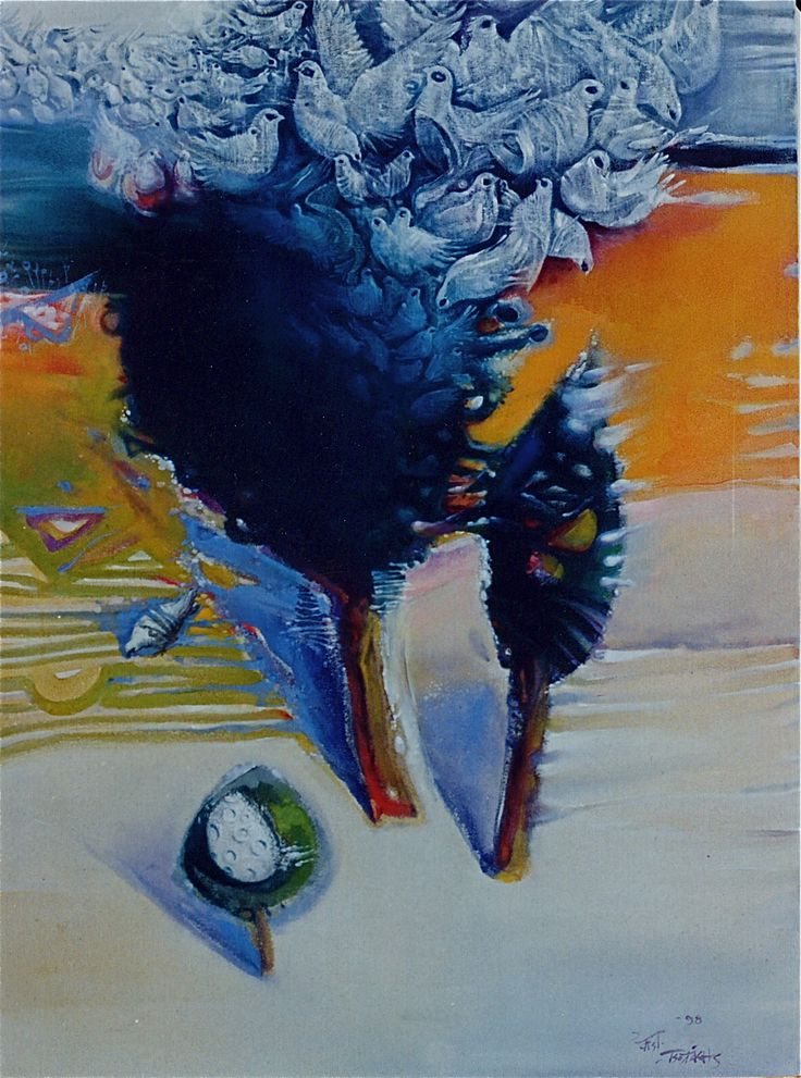 DREAMING TREE – water-colour on especially primed canvas 60Χ80, 1998. ΔΕΝΔΡΟ ΟΝΕΙΡΕΥΟΜΕΝΟ - εὐ ὑγροῖς σέ ὓφασμα, 60Χ80, 1998.  Paintings by Aristomenis Tsolakis, Athens.