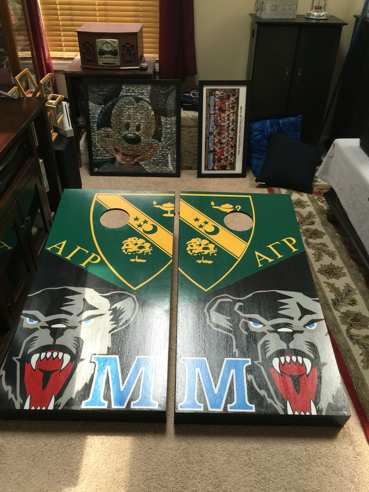 Alpha Gamma Rho and Maryland corn hole boards. Check out www.facebook.com/fishscustoms for more information.