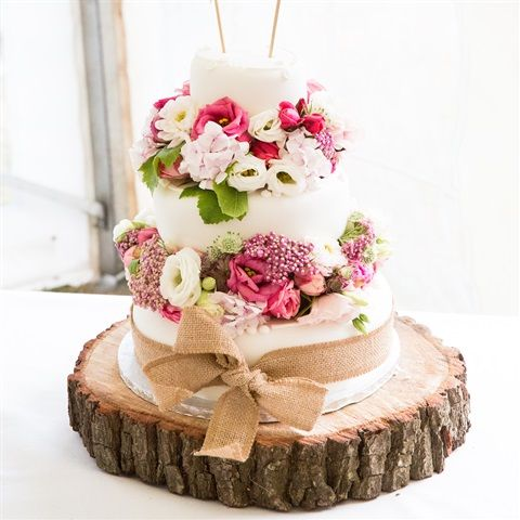 Marks And Spencer Wedding Cake With Fresh Flowers Wired Into Poly Blocks Hessian Ribbon