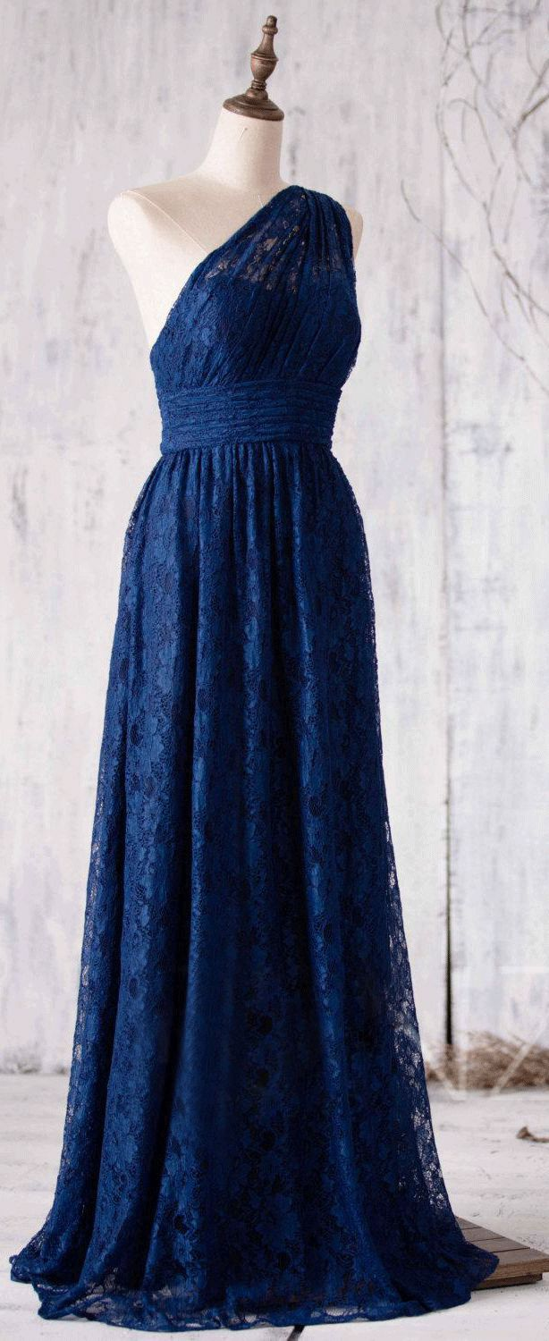 US$151.99-Vintage Lace One Shoulder Pleated Long Deep Blue  Bridesmaid Dress.  https://www.doriswedding.com/allover-lace-one-shoulder-pleated-a-line-long-dress-with-bandage-pET_329098.html.  Find the best bridesmaid dresses at DorisWedding. We have all styles & colors, such as purple, gold, red & lace, country and country. #DorisWedding.com