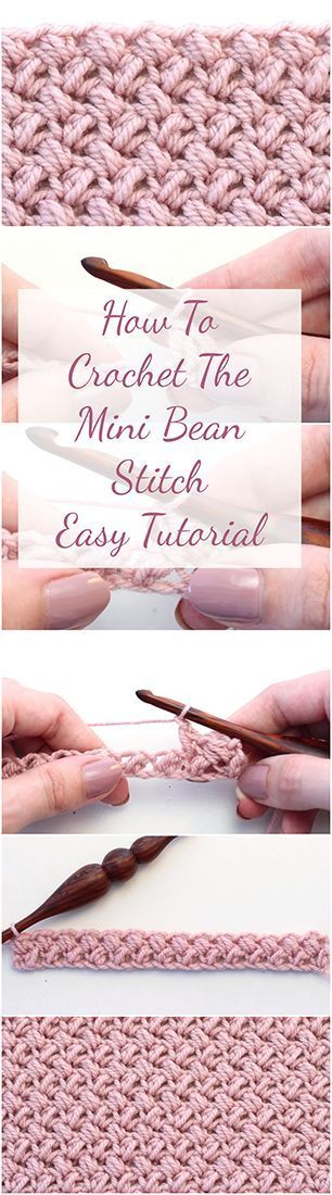 Learn to crochet the mini bean stitch to crochet amazing blankets, scarfs etc. Follow the step by step tutorial for beginners — easy and fast video tutorial! #crocheting