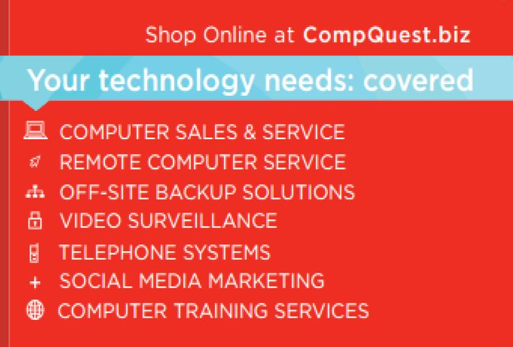 Computer Sales and Repair, IT and Social Media Solutions you can trust.  #Technology #SocialMedia #CompQuest