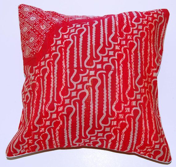 Ikat Red Cushion Cover Pillow Case In Batik Pattern By
