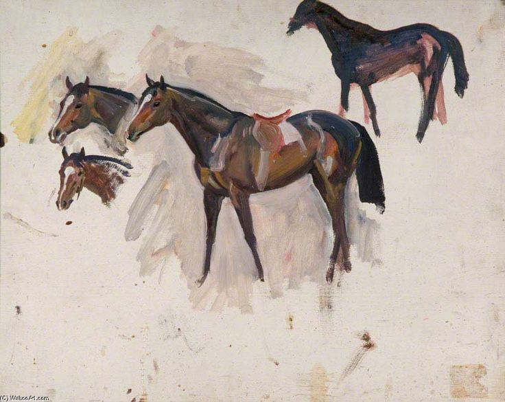 Sir Alfred James Munnings Studies Of A Bay Racehorse