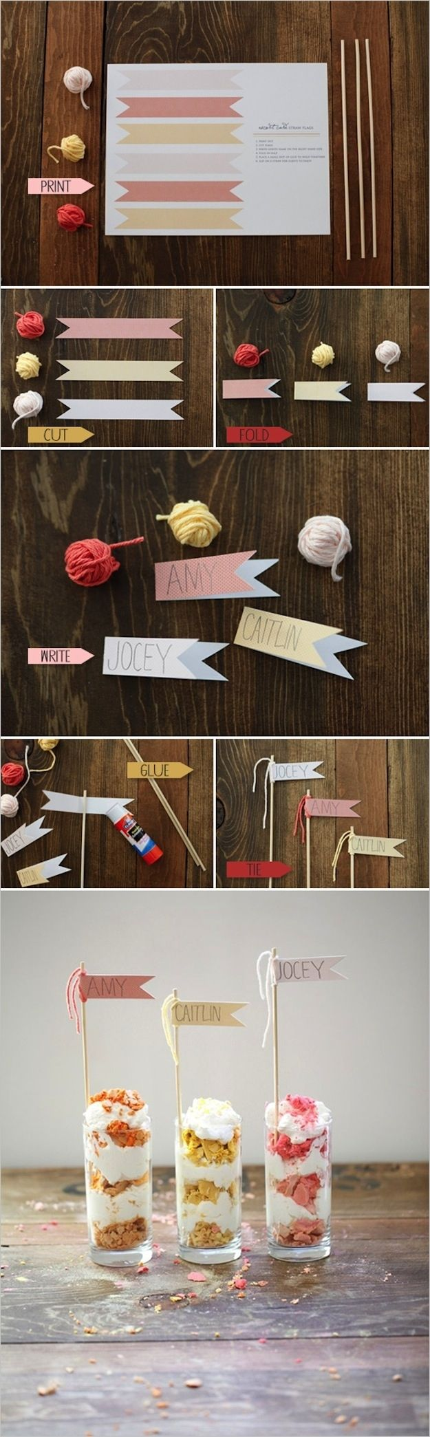 Straw Flag Place Cards | 35 Cute And Clever Ideas For PlaceCards