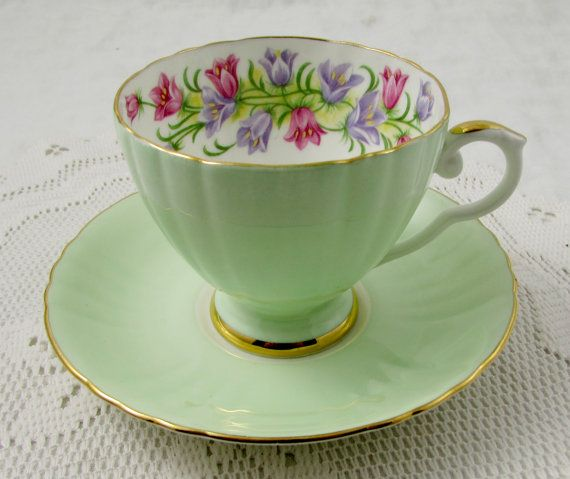 Royal Grafton Tea Cup and Saucer Pale Green with Purple and Pink Bell Flowers…