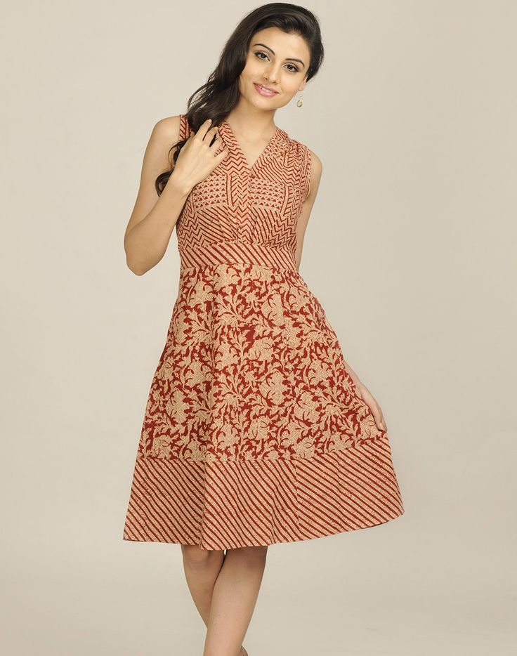 Cotton Mull Kalamkari Printed Dress @ US $61.98 http://www.FabIndia.com/intl/new-arrivals.html