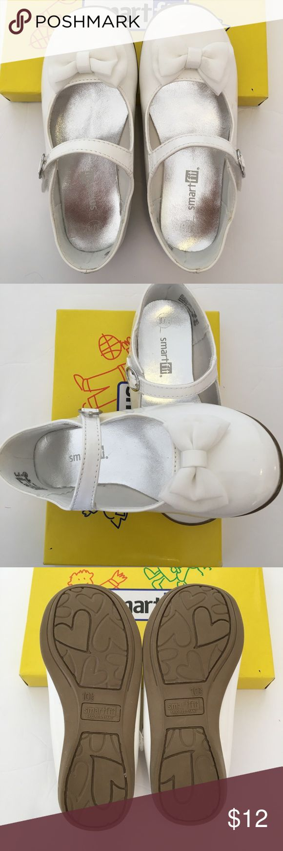 Smart fit White Patent address Shoes with Bow White faux patent dress shoes in size 10.5. Cute ribbon detail, skid resistant bottom, padded insole with a velcro strap. Only worn once for a few hours for a wedding. Has a slight dirt mark on little part of ribbon (please see closeup ribbon pic). Velcro part on right shoe has a little yellow mark as well. Both will probably come off with soap & water. Otherwise in excellent barely worn condition. Comes with original box. Comes from smoke & pet…