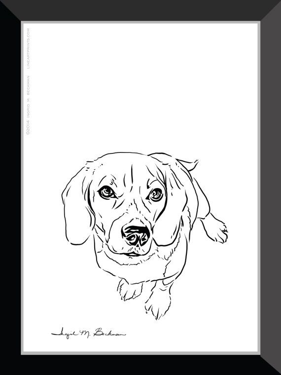 Beagle Print. Dog wall art 5x7 room decor. Black by LineArtPrints. I created this for the winner of a contest. She was thrilled. :) Love making people happy. www.LineArtPrints.com.
