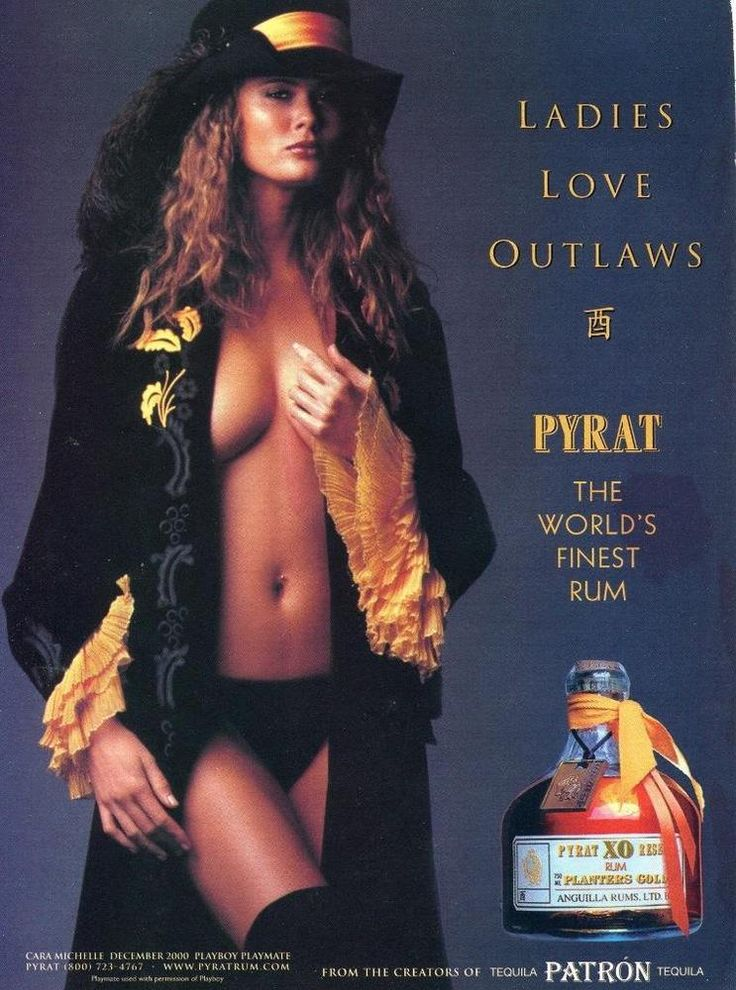 """2000 PYRAT RUM AD SEXY PLAYBOY PLAYMATE CARA MICHELLE """"LADIES LOVE OUTLAWS"""""""