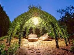 Sculpt a gazebo with living Willow trees arching into inter woven branches. You can integrate your structure with living trellises of arching willow planted with intertwining vines.