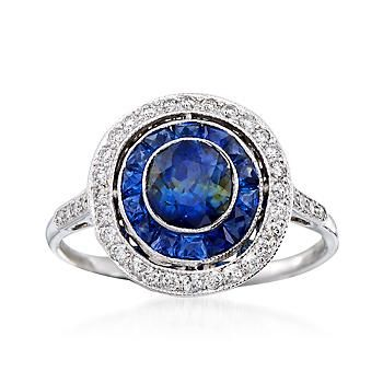 Ross-Simons - C. 1990 Vintage 1.25 ct. t.w. Sapphire and .35 ct. t.w. Diamond Circle Ring in 18kt White Gold. Size 7 - #894373
