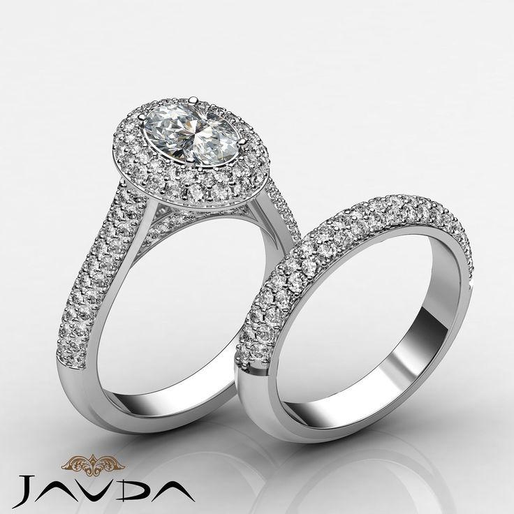Oval Diamond Halo Pave Engagement Ring GIA H SI1 Bridal Set 14k White Gold 4 Ct | eBay