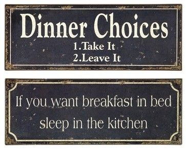 Breakfast and Dinner Signs - Set of 2 - transitional - Novelty Signs - Uber Bazaar