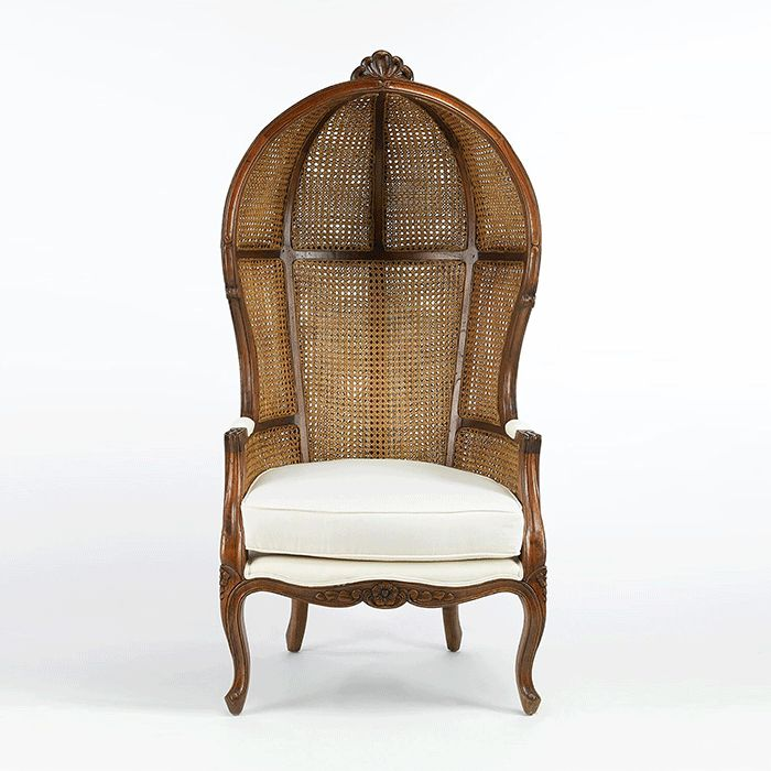 As part of our Paris Flea Market Collection, the Porter Balloon Chair has beautifully carved hardwood features, vintage style double cane top, and linen fabric. [$1,309.95]