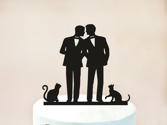 Gay wedding cake topper with cat,same sex wedding with cat,Gay wedding,Gay with cat cake topper, groom gift, gay cake topper + cats (1021)