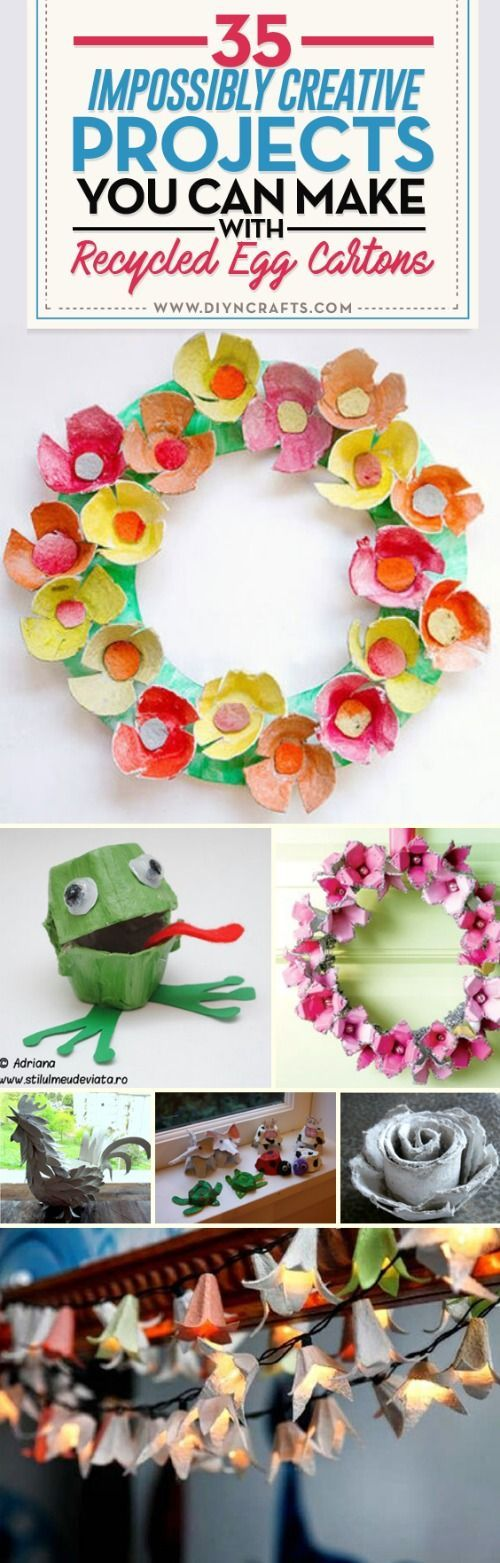 35 Impossibly Creative Projects You Can Make with Recycled Egg Cartons - Egg cartons aren't something I used to think about a lot. Yeah, I know how silly and strange that sentence sounds hanging in the air. But after you see some of the absolutely amazing crafts that people make out of them, you'll suddenly be thinking about them a lot too. via @vanessacrafting