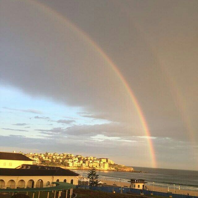 There is always gold under the rainbow. #Rainbow #Goldundertherainbow #pretty #bondibeach #bondibeachsydney #Beach #scenic #afterthestorm by hotelbondi http://ift.tt/1KBxVYg