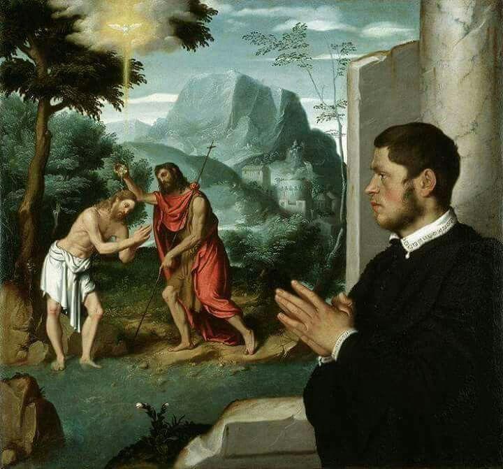 Devoto in contemplazione del battesimo di Cristo.  Coll. Privata. 1555