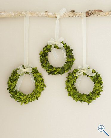 So simplistic- yet has an elegant quality to it-Wreath + Ribbon + a Branch