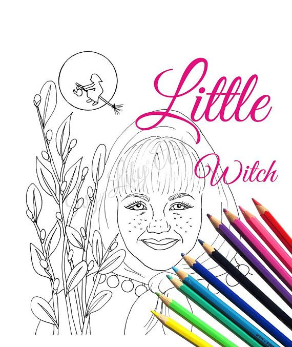 Witch Coloring Coloring Page and Digital Stamp Little Easter Witch. Little Easter Witch coloring page and digital stamp. Downloadable and printable coloring page of a little girl dressed as a witch for Easter or Halloween.