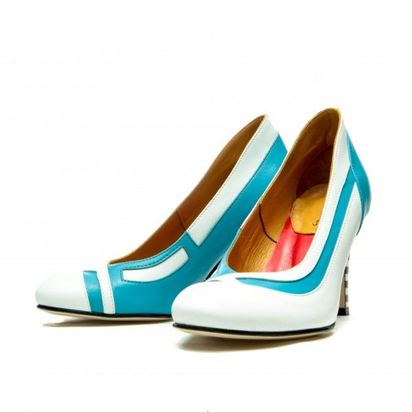 Full leather upper, lining and sole. Turquoise and white sheep and calf leather Black & White striped heel. Covered heel measures approximately 85 mm/ 3.3 Inches Low cut vamp Handmade, rounded toe Slip on Size: 36, 37, 38, 39, 40, 41 EU size