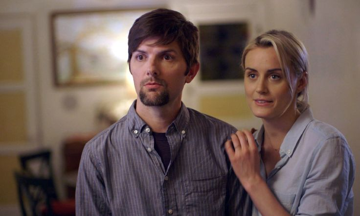 """""""The Overnight"""": When a young, married couple relocates from L.A. to Seattle, making friends isn't as easy as they'd like. Still, when a dinner invite leads to a night that's not quite what the expected, things get more than a little uncomfortable. Pictured: Adam Scott (Alex) and Taylor Schilling (Emily) in a scene from THE OVERNIGHT. Photograph by John Guleserian"""