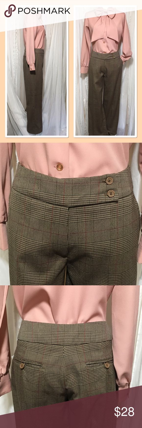 NWT Wide leg wide plaid pant with cuff size 8 NWT wide leg men's wear inspired slacks. Great plaid colors beige, camel, burgundy, and red. Has two pockets in front, 2 split pocket in back and two buttons at waist. Wide cuff on bottom of pant. Nice soft fabric with some stretch. Waist 16 inches Inseam 32 inches Rise 10 inches Leg opening 10 inches 65% polyester 34% rayon 1% spandex These are the perfect fall Slack. Super comfy for any day of the week! Thanks for visiting my closet feel free…