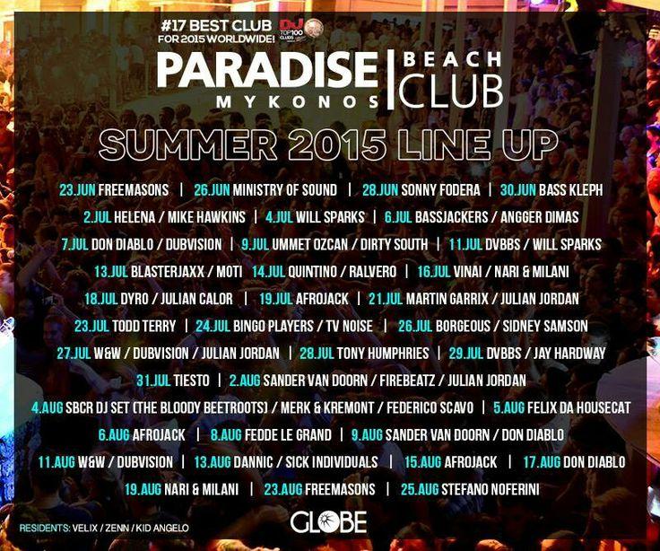 Paradise Club Mykonos line-up 2015