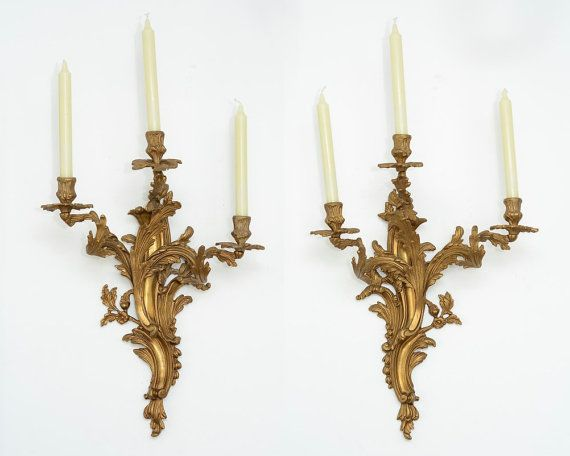 Chandelier Style Wall Sconces : 2 Antique French Louis XV Rococo XVII / XVIIIth Style Bronze Wall Sconces Candle Holders, Decor ...
