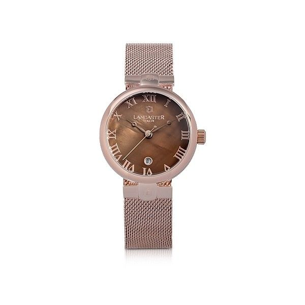 Lancaster Women's Watches Chimaera Rose Gold Stainless Steel Watch... ($245) ❤ liked on Polyvore featuring jewelry, watches, pink, women's watches, water resistant watches, roman numeral watches, lancaster watches, rose jewelry and logo watches